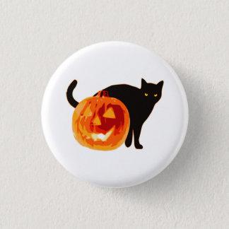 Botón de Halloween del gato negro y de la linterna