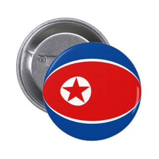 Botón de la bandera de Corea del Norte Fisheye