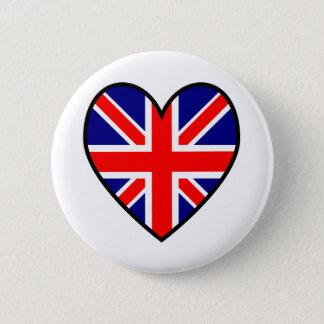 Botón de la bandera del corazón de Union Jack
