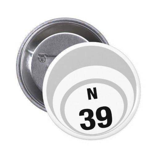 Botón de la bola del bingo N39 Pin