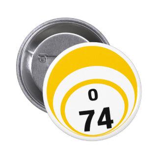 Botón de la bola del bingo O74 Pins