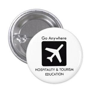 Botón de la educación de la hospitalidad y del tur pin