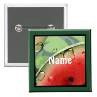 Botón de la etiqueta del nombre de la comida campe pin