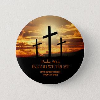Botón de la iglesia cristiana de tres cruces