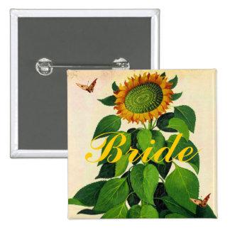Botón de la insignia del boda del girasol para el