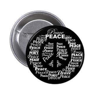 Botón de la paz - negro y blanco
