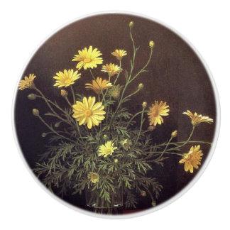 Botón de la pintura del florero de la margarita de pomo de cerámica
