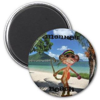 Botón de la playa del mono imanes