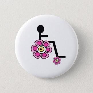 Botón de la silla de ruedas del flower power