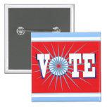 Botón de las elecciones del VOTO - cuadrado/rojo Pin
