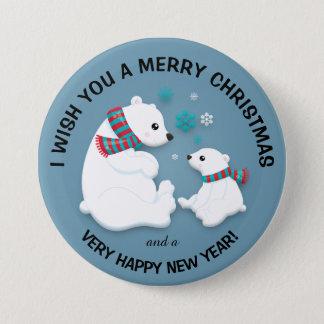Botón de las Felices Navidad de los copos de nieve