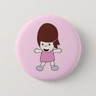 Botón de Lesley del chica del dibujo animado