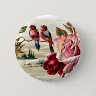 Botón de los rosas del pájaro del vintage