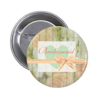 Botón de madera resistido rústico floral de la