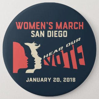 Botón de marzo San Diego Colassal de las mujeres