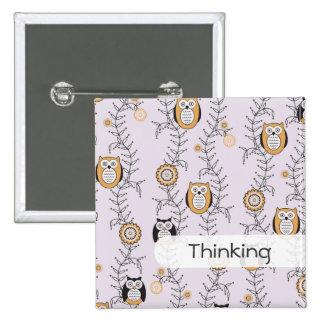 """Botón de """"pensamiento"""" moderno de los búhos pins"""