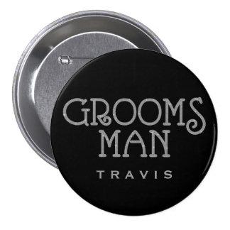Botón de plata de la etiqueta del nombre del