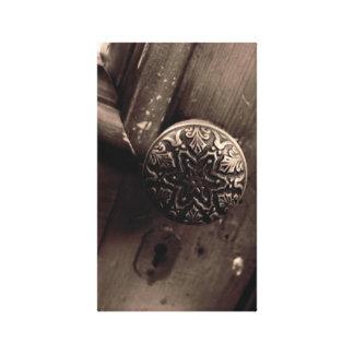 Botón de puerta del vintage lona estirada galerías