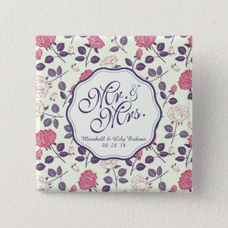 Botón de Sr. y de señora Vintage Floral Wedding