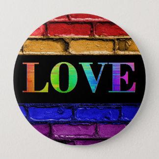 Botón del amor de la pared de ladrillo del arco