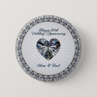 Botón del aniversario de boda del corazón 60.o del