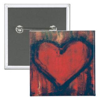 Botón del arte del corazón de la pintada pins