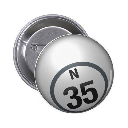 Botón del bingo de N 35 Pins