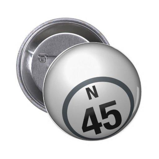 Botón del bingo de N 45 Pin