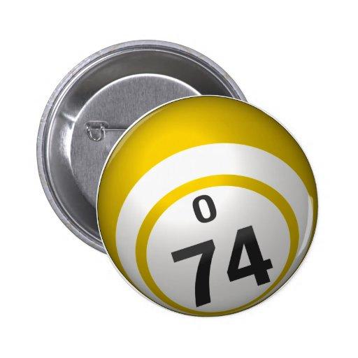 Botón del bingo de O 74 Pins
