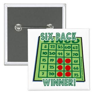 ¡Botón del bingo seis ganadores del bingo del paqu Pin