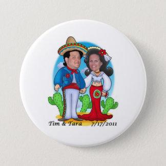 Botón del boda de Tara y de Tim