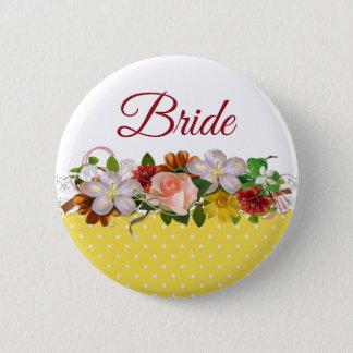 Botón del boda del ramo floral de la novia