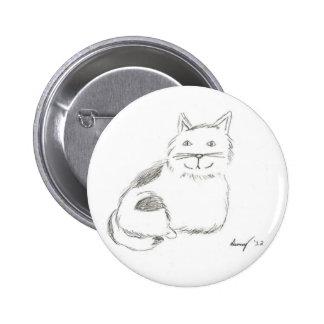 Botón del bosquejo del gatito - redondo