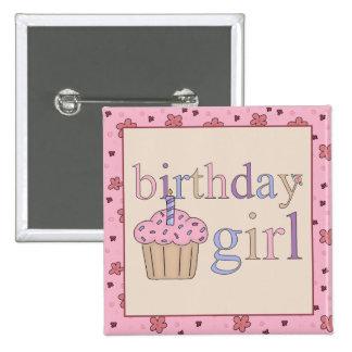 Botón del chica del cumpleaños pins