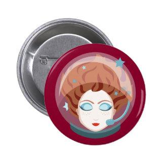 Botón del chica del espacio del astronauta