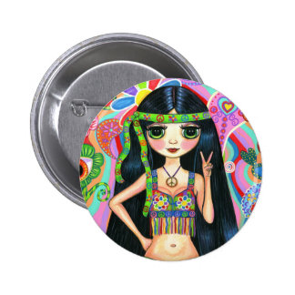 Botón del chica del Hippie del signo de la paz