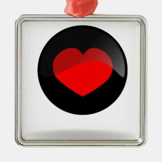 Botón del corazón adorno navideño cuadrado de metal