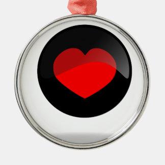 Botón del corazón adorno navideño redondo de metal