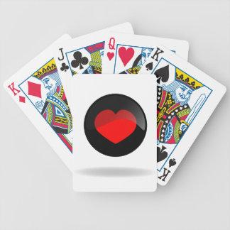 Botón del corazón baraja de cartas bicycle
