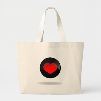 Botón del corazón bolsa de tela grande