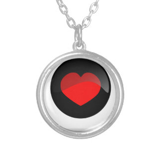 Botón del corazón collar plateado