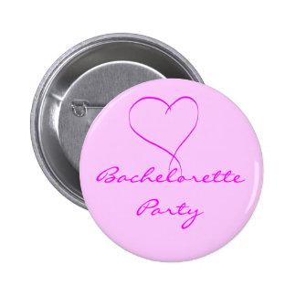 Botón del corazón del rosa del fiesta de Bachelore