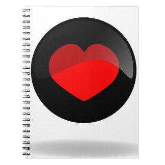 Botón del corazón libretas espirales