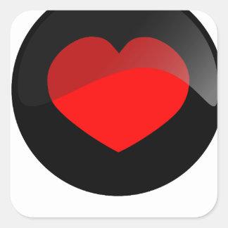 Botón del corazón pegatina cuadrada