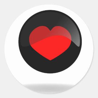 Botón del corazón pegatina redonda