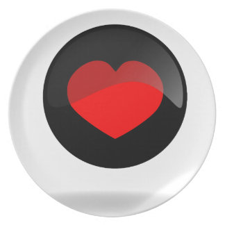 Botón del corazón plato de cena