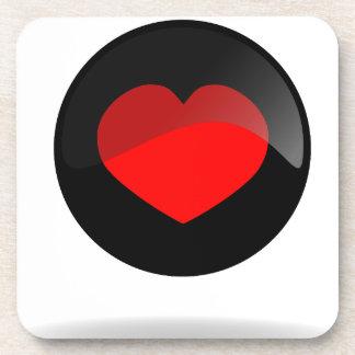 Botón del corazón posavasos para bebidas