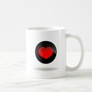 Botón del corazón taza de café