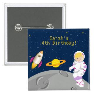 Botón del cumpleaños del astronauta del espacio pins