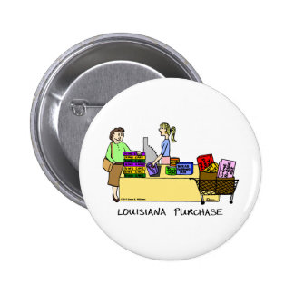 Botón del dibujo animado de la compra de Luisiana Pin